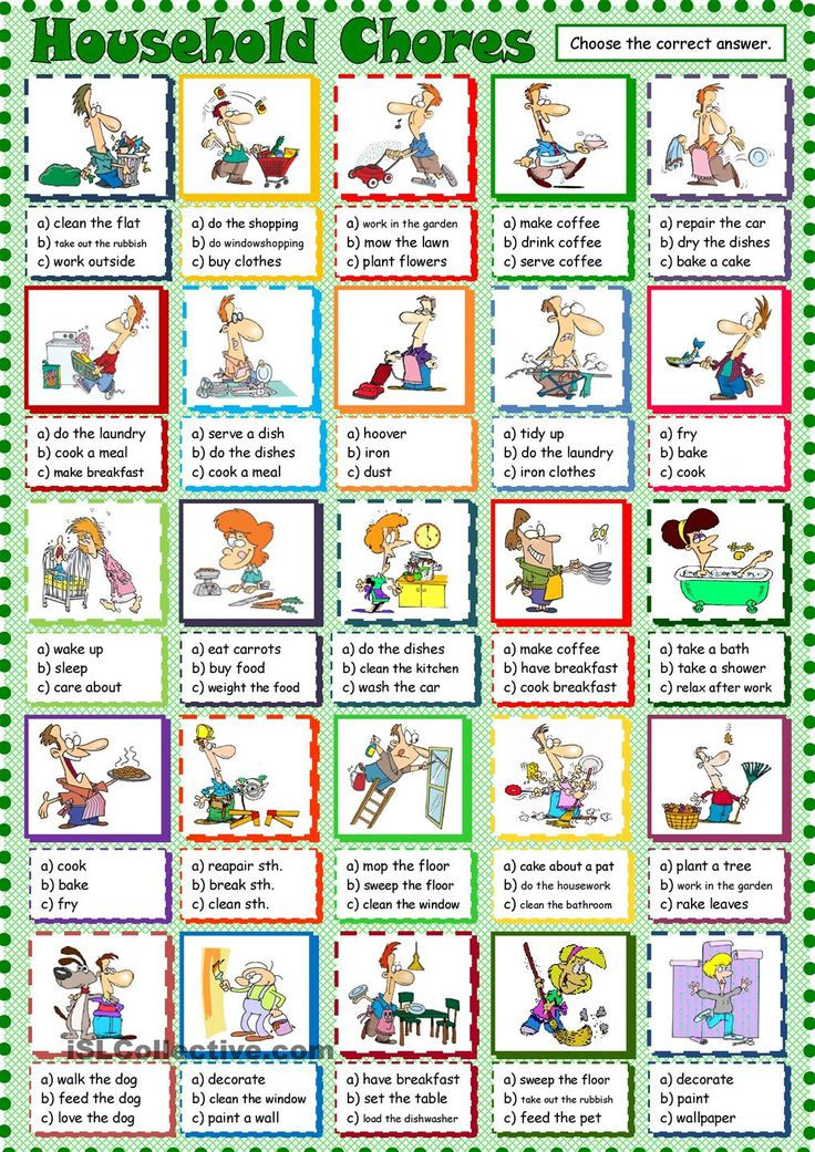 Household Chores: ESL printable worksheet of the day on August 22, 2015 by seni77