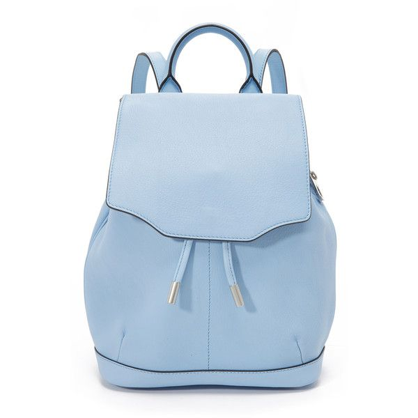 Rag & Bone Mini Pilot Backpack (40,915 INR) ❤ liked on Polyvore featuring bags, backpacks, light blue, mini backpack, leather drawstring backpack, day pack backpack, leather flap backpack and leather rucksack