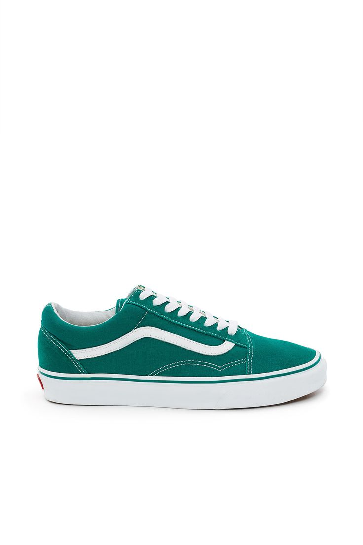 Vans, Old Skool Sneaker As one of the first shoes to bare the iconic Vans side stripe, this iconic Old Skool sneaker is rendered in an ultra marine green canvas upper with soft tonal suede overlays along the toes and heels., UnisexUS men's sizing - See Size & Fit tab for women's size conversion here, Low profile, Round toe, Lace-up front, Signature logo stripe, Padded collar, Canvas lining, Original waffle rubber outsole, Imported