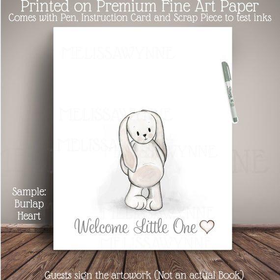 Geschlecht Neutral Bunny (oder Zubehör hinzufügen) Baby Shower Dekoration / Kinderzimmer Kunst – Gedruckt auf Premium Fi   – Products