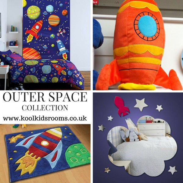 Cot bed collection Outer Space Rocket Themed Bedroom - Buy this Space bedroom collection including cot bed duvet cover & you will receive a FREE single duvet cover so your childs bedroom will grow with them
