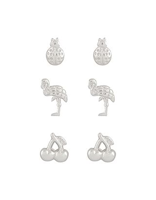 Sterling Silver 3x Mixed Summer Stud Earrings Set