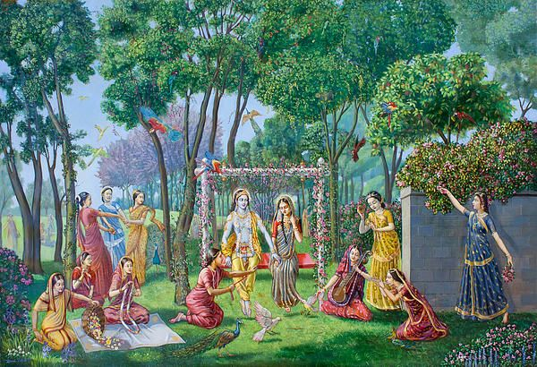 Radha Krishna On The Swing, classical realism oil on canvas, by Dominique Amendola