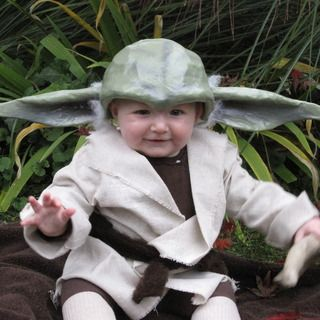 Yoda Costume for Baby. DIY baby yoda. hat looks too difficult but I like the socks-as-shoes and brown leggings, plus easy tan robe
