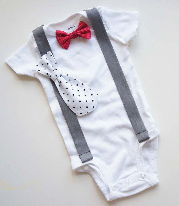 Sunny  Baby Boy cravatta Papillon Onesie T con bretelle