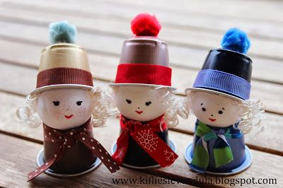 Cute little characters made out of Keurig style coffee disposable capsules. This page is in Hungarian, but web browser translated. Great idea for homemade ornaments.