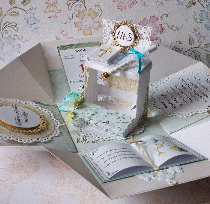 belle art: Pudełko niespodzianka na Komunię Św. dla chłopca
