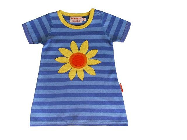 Organic Cotton Sunflower Applique Short Sleeve T-Shirt Dress -100% Organic cotton short sleeved dress #SustainTheFuture