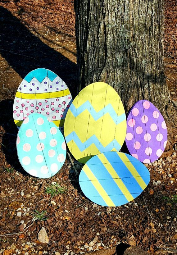 Easter Decor One Wooden Easter Egg Featured On 1001 Pallets Etsy Easter Yard Art Easter Yard Decorations Easter Decorations Outdoor