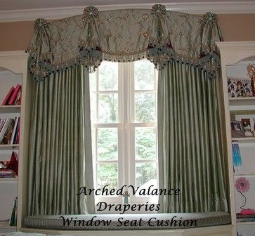 cornice window treatments | Flat valance with Tails & Draperies - eclectic - window treatments ...