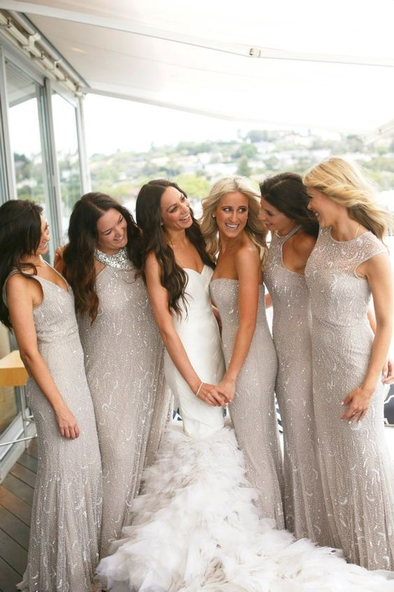 Sparkly silver grey bridesmaid dresses by Rachel Gilbert                                                                                                                                                                                 More