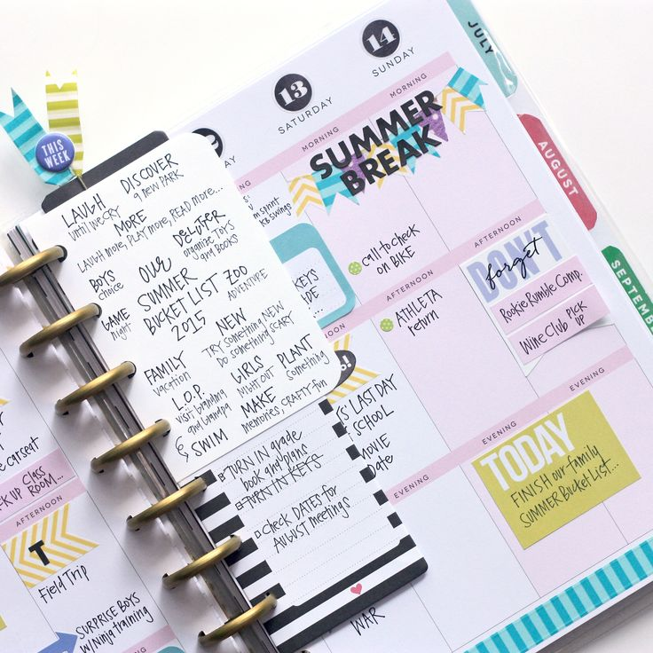 a June weekly spread & Summer Bucket List in the Happy Planner™ of mambi Design Team member April Orr | me & my BIG ideas