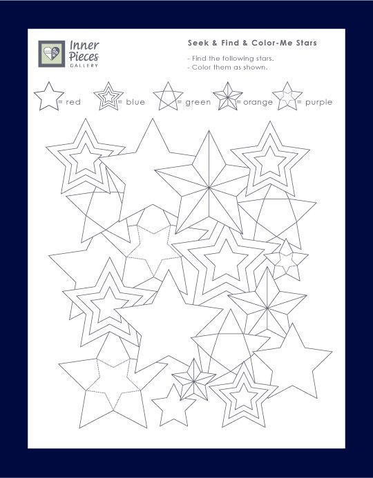Seek and Find and Color Me Stars, a free printable activity for kids that strengthens important learning skills such as visual figure ground and visual discrimination.