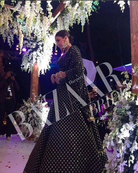 Anushka Sharma In A Black Anarkali To Attend Yuvraj Singh-Hazel Keech's Goa wedding.Dress Designed By sabyasachi.