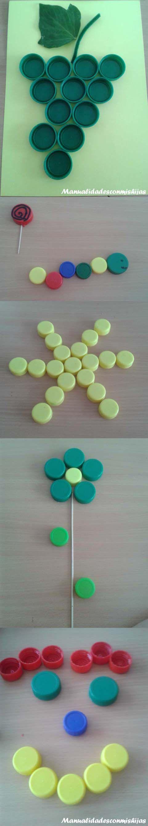 Figuras con tapones de plástico. Reciclado Recycled. Plastic Bottle Caps Uvas, estrella, gusano, cara sonriente, flor Grapes, star, caterpillar, flower, smiling face
