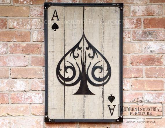 Ace Of Spades Wall Art Casino Decor Metal Poker Card With Etsy Gaming Wall Art Wall Art Decor Gaming Decor