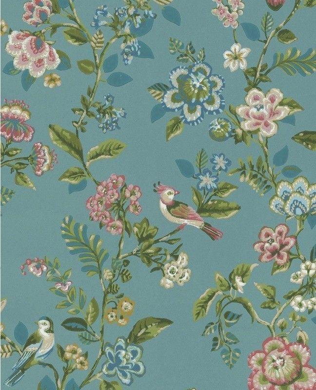 Show Details For Botanical Print Wallpaper Sea Blue