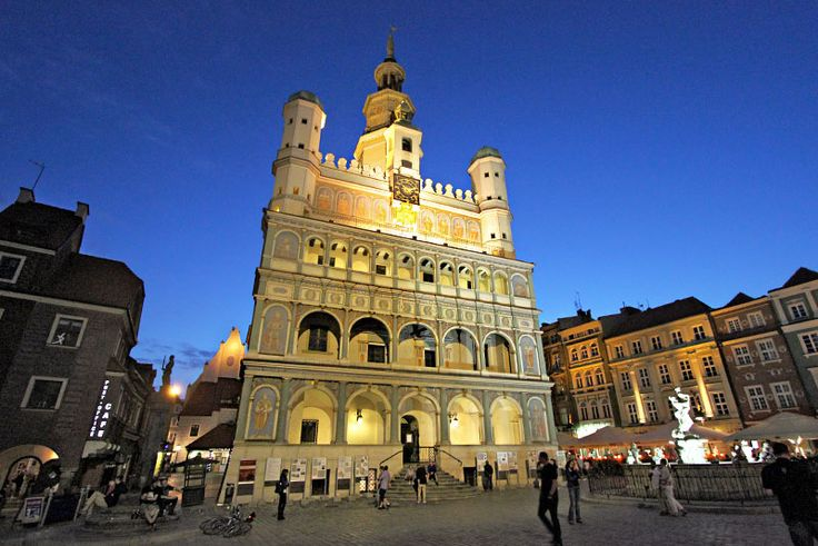 In the Old Market Square, the old Town Hall in Poznan Poland is especially beautiful by night