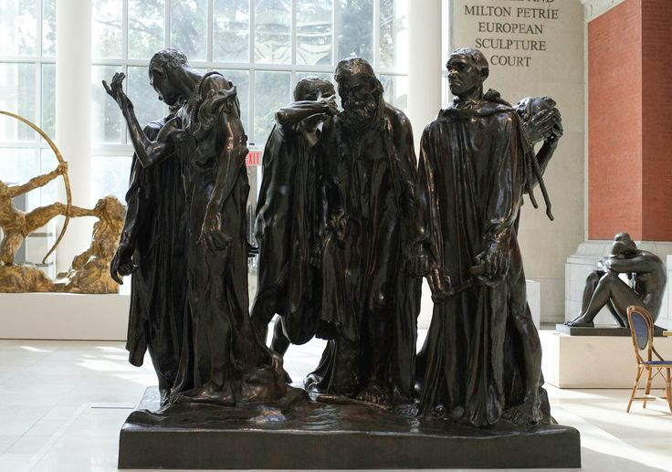 The Burghers of Calais  Rodin closely followed the account of the French chronicler Jean Froissart (1333 or 1337–after 1400) stating that six of the principal citizens of Calais were ordered to come out of the besieged city with heads and feet bare, ropes around their necks, and the keys of the town and the castle in their hands. They were brought before the English king Edward III (1312–1377), who ordered their beheading.