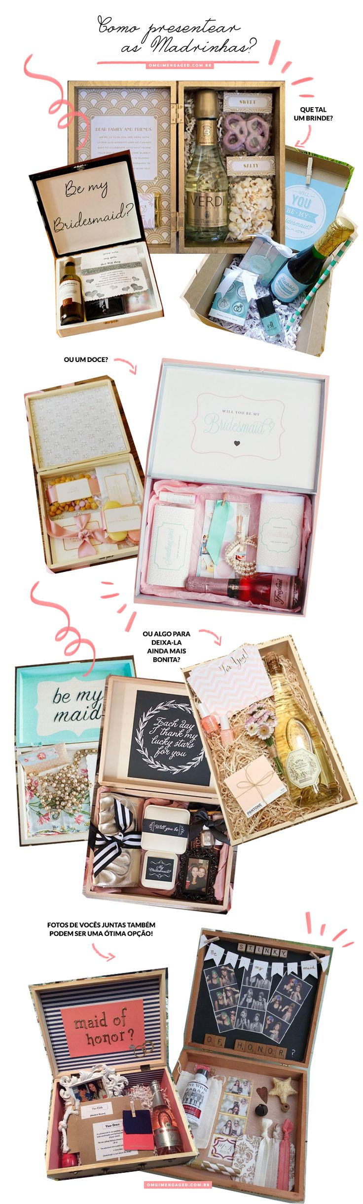 Blog OMG I'm Engaged - Idéias de presentes para madrinhas de casamento. Bridesmaid gift box.