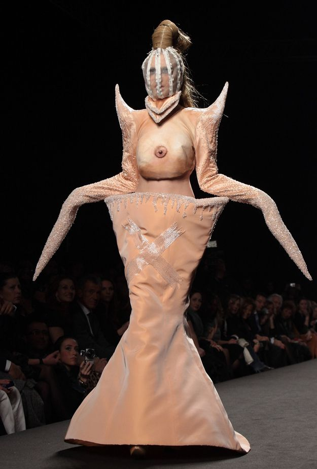 Rome Fashion Week's UniboobDress  I'm speechless. The bar for ridiculous fashion week dresses has been infinitely raised.
