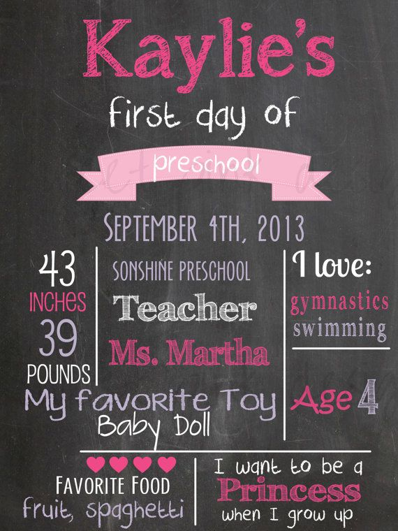 Chalkboard First Day of School Printable on Etsy, $10.50