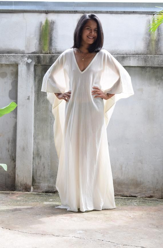 c25b62d5d3 O. COTTON GAUZE kaftan, White Caftan,Kaftan see through,Long Beach dress,Beach  party dress,Pool party dress, Sheer dresses, See though dress in 2019 ...