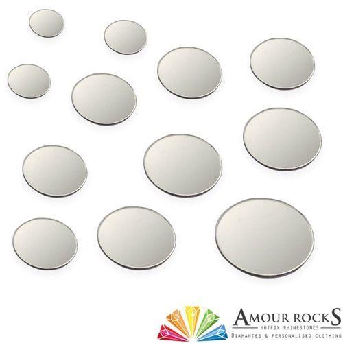 Round Silver Hotfix Mirror Discs