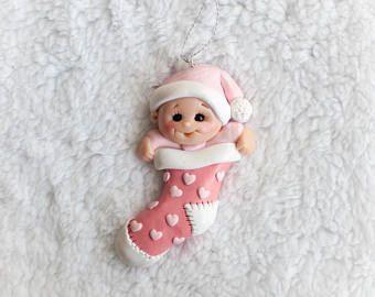 Los niños del bebé primer árbol de navidad ornamento siembra corazones de regalo de bebé personalizada arcilla de polímero rosa colgante amor de calcetín Janucá linda chica