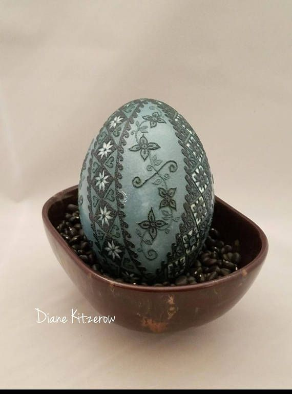 One-of-a-kind, beautiful etched emu egg available now in my Etsy shop!