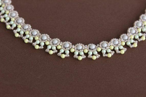 PDF Tutorial beaded pastel color necklace_beading_seed beads_Swarovski pearls