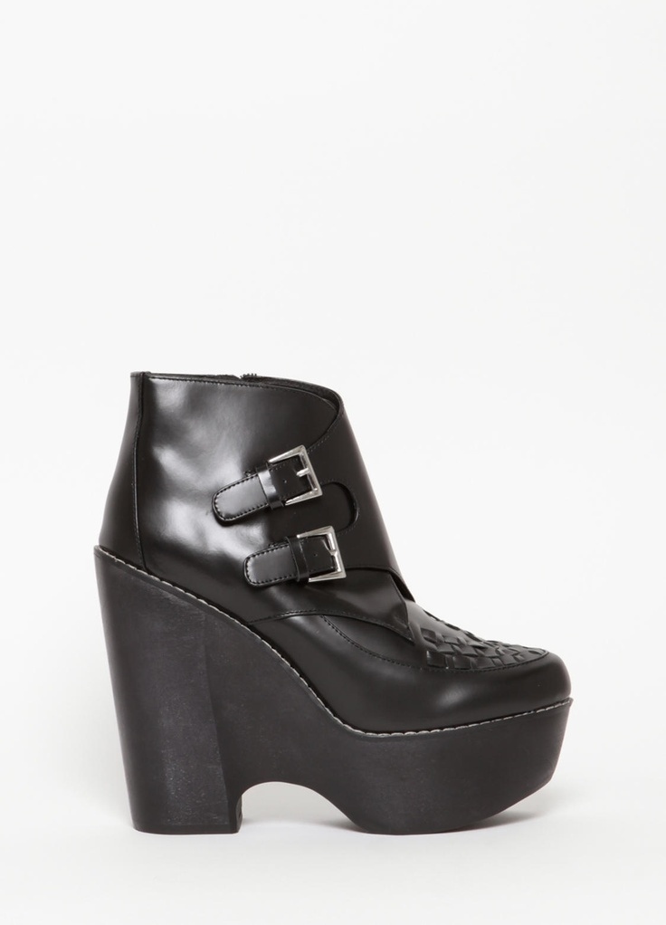 """The Creeper and Tardy Boot met, fell in love, and had a baby! Meet """"Busted"""", who is anything but. Leather upper, man made sole.  2"""" platform, 5"""" heel."""