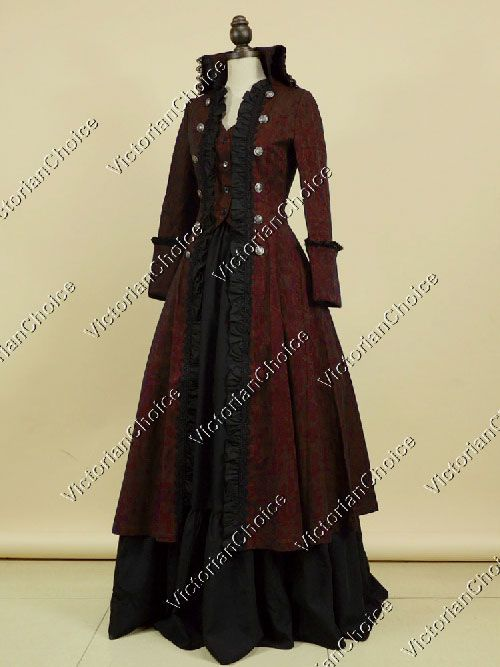 Vanessa Ives Fashion <3  High Quality Victorian Edwardian Steampunk Gothic High Collar Royal Gown Coat Dress