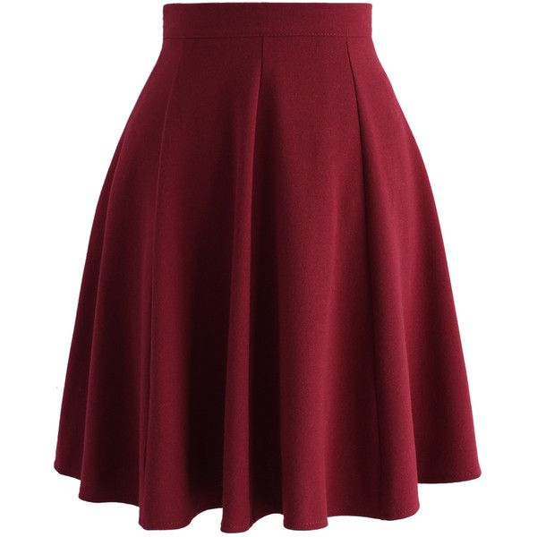 Chicwish Closet Essential A-line Skirt in Wine ($42) ❤ liked on Polyvore featuring skirts, pink, red a line skirt, a-line skirt, red skirt, pink skirt and knee length a line skirt