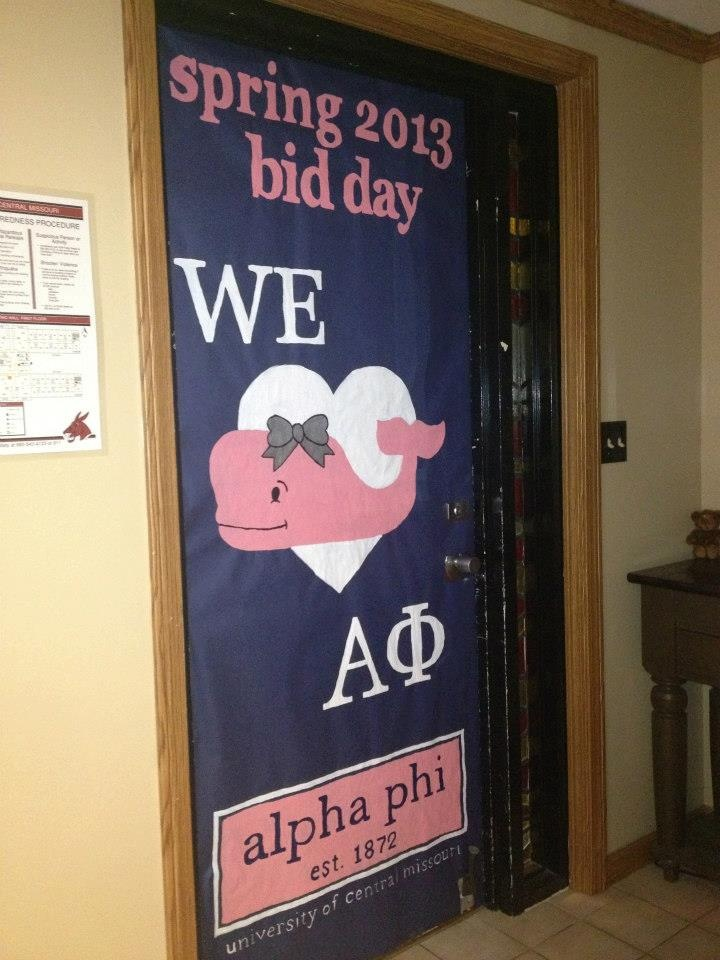 Alpha Phi Bid Day door dec. Without the bid day thing, 2013-14 in-house commons decor?