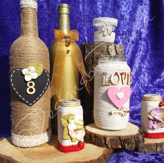Set Of Six Vintage Wine Bottle Jars Wedding by DesignsByDenisa