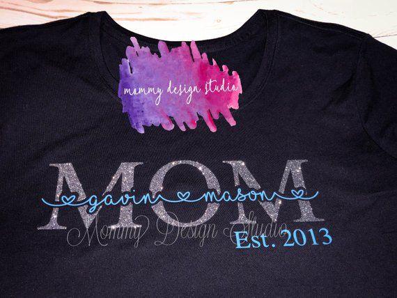 Personalized Mom Shirt Kids Name Mom Shirt Custom Mom Etsy Heat