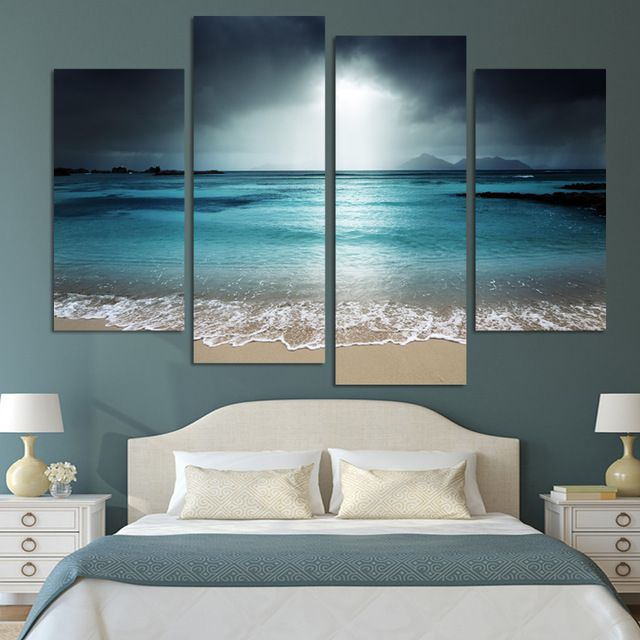 4 Panel Modern Wall Art Home Decoration Painting Canvas Wall Art Prints Pictures Sea Scenery With Beach (Unframed)