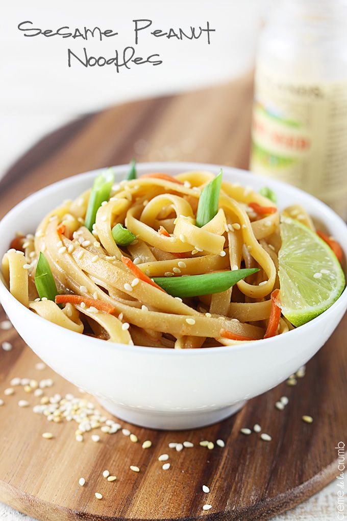 These healthy peanut noodles have a light and creamy peanut butter sauce and come together in less than 20 minutes!