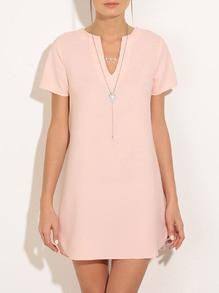 DESCRIPTION Belt :NO Fabric :Fabric has no stretch Season :Summer Type :Tunic Pattern Type :Plain Sleeve Length :Short Sleeve Color :Pink Dresses Length :Short Style :Cute Material :Polyester Neckline
