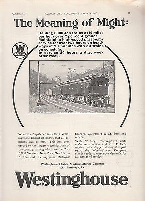 1923 Westinghouse Ad: The Meaning of Might Westinghouse Electric Locomotive