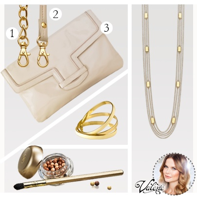 The key to good accessorizing is versatility. This collection of glossy, gold accented pieces can be worn in many ways for different occasions. Wear all the bangles for a fashionable stacked look and detach the handbag chain for a chic evening event.   Glossy Cream Clutch, no. 26728  Cream Accents Necklace, no. 26731  Cream Accents Bangle Set, no. 26733