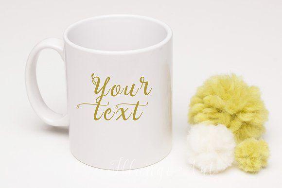 Mug mockup with pompom by IllangoArt on @creativemarket