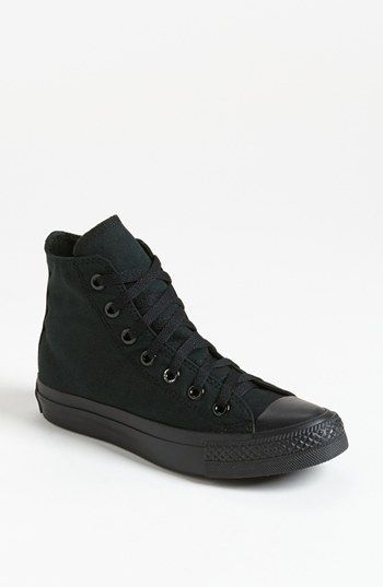 Converse Chuck Taylor® All Star® high-top sneaks for women ($49.95) in black monochrome - textile upper and lining/textile and rubber sole http://www.platformsconverse.com/converse-classic-all-star-c-6/black-converse-all-star-high-tops-monochromatic-canvas-sneakers-p-18.html#.UieI57zPFe4