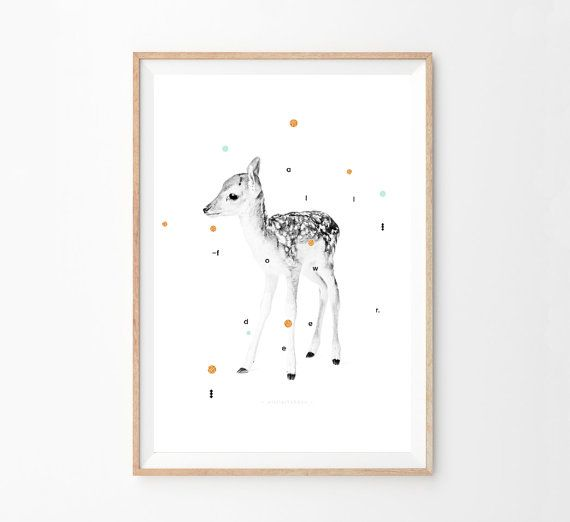 FALLOW DEER DAMA Print - Kids Art - Printable Animal Poster  - Nursery - Scandinavian Poster - Wall Art Prints - Affiche Scandinave