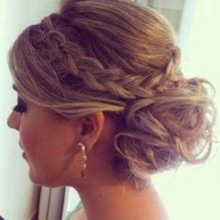 Braid, messy bun, prom, formal, ball hairstyle