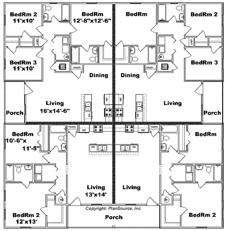 76 best multi unit plans images on pinterest little for Apartment plans 6 units