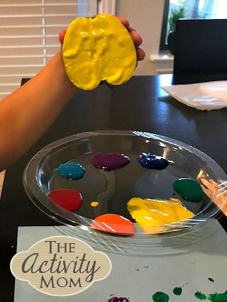 The Activity Mom - Apple Painting Craft for Kids - Use apples or any fruit or vegetable to paint!