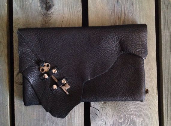 Black Leather Dinner Clutch with Raw Edge Flap & Antique Skeleton Key Detailing by HeartnSoulHandbags, $130.00