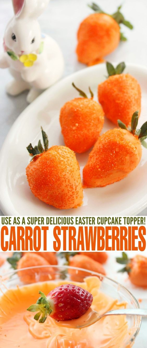 326 best easter ideas images on pinterest easter desserts carrot strawberries are a super cute twist on chocolate covered strawberries that make them perfect for negle Choice Image